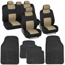 Black & Beige Car Seat Covers 9 Pc Set Complete w/ 4 Pc Black Heavy Duty Mats