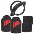 Original Heavy Duty Black Red Car Floor Mats PU Leather w Steering Wheel Cover