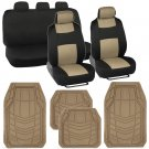 Solid Beige Polyester Cloth Seat Covers for Car SUV & Rubber Floor Liner Mats