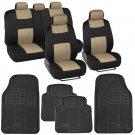 Beige / Black Car Interior Split Bench Seat Covers Black Rubber Mats - 13 Pc Set