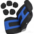 Seat Cover for Car Rome Sport Racing Style Black With Blue With Rubber FlexTough Mat