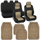 Beige Car Seat Covers Set Full Solid Bench for Auto SUV w Rubber Floor Mats