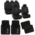 Car Seat Covers Protectors with Car Floor Mats Love Rose