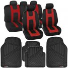 Rome Sport Seat Covers Set Front & Rear Stripes Black/Red plus FlexTough Mats