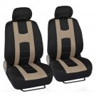 Complete Set Beige Stripe Car Seat Covers / FlexTough Mats Black Front & Rear