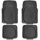 Deep Dish Heavy Duty Rubber Car Floor Mats 4 pc Front Rear in Black All Weather