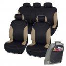 Car Seat Covers Fit for Sedan SUV Beige Premium Rome Seat w Organizer Kick Mat
