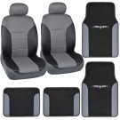 Synthetic Leather Seat Covers Car SUV Van Vinyl Trim Carpet Floor Mats 8 Pieces