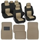 9 Pc Car Seat Covers Set Black and Beige w 4 Pc Tan Beige Carpet Floor Mats