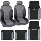 8pc PU Leather Seat Covers Floor Mats Combo Set for Car SUV Van Front Pair