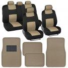 Beige & Black Seat Covers Set Split Bench Solid Beige Vinyl Trim Floor Mats