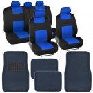 Black & Blue Seat Covers Set Complete w Solid Blue Floor Mat w/ Heel Pad