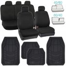 OEM Black Seat Covers for Car Auto SUV Cloth Split Bench w Rubber Floor Mats