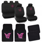 Pink Butterfly Design Car Seat Covers & Floor Mats Full Interior Set 13 Pc