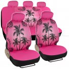 Car Interior Pink Palm Tree Seat Covers Front Rear Universal Fit Car Accessory