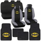 Batman Seat Covers & Floor Mats - Super Hero Car Front Rear Bench Carpet Pads