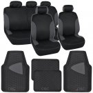 Black & Charcoal Car Seat Covers with Split Bench & Eco-Clean Black Rubber Mats