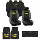 Batman Car Seat Covers Yellow on Black Logo w/ Matching Carpet Floor Mats 15 pc