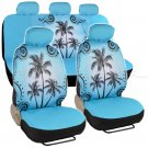 Car Interior Blue Palm Tree Seat Covers Front Rear Universal Fit Car Accessory