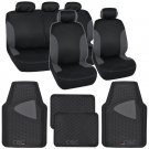 2 Tone Black & Charcoal Accent Stripes Car Set 13pcs Seat Cover w Odorless Mat