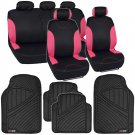 13pc Seat Covers & Floor Mats for Auto Black Pink With Channeled Mats Bucatti
