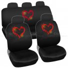 Red Love Heart Car Seat Cover Front Rear Full Set Auto Accessory Universal Fit