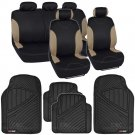 Two Tone Black & Beige Stripes Car Seat Covers for Auto & Heavy Duty Floor Mats