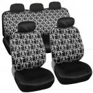 White Skull Car Seat Cover Front Rear Full Set Auto Accessory Universal Fit