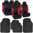 Two Tone Black & Red Stripes Car Seat Covers for Auto & Heavy Duty Floor Mats