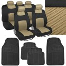 4 Pc Plush Solid Black Rubber - 9 Pc Sporty Spacer Mesh Beige Cloth Seat Cover