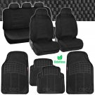 Voyager Seat Cover 7 Pc Scottsdale Fabric Black & 4 Pc Black Odorless Rubber Mat