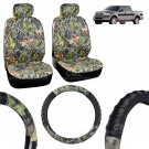 OEM Camo Seat Cover Camo Steering Wheel Cover 2 Front Low Back Seat 7 Piece Set