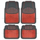 Car Rubber Floor Mats Red Metallic Design on Black Heavy Duty Rubber