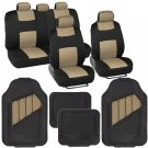 Black & Beige Tan Seat Covers Set Complete with Deep Channeled Rubber Floor Mats