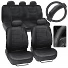 Car Seat Covers and Steering Wheel Cover Comfy Faux Leather Solid Black