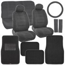 Retro Vintage Fabric Seat Covers & Carpet Floor Mats Ribbed in Classic Black