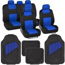 Interior Protection Car Seat Covers Set Blue With Heavy Duty Rubber Mats