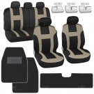 Monaco Tan Beige Set Car Seat Covers and Solid Black Hefty Mats Front and Rear