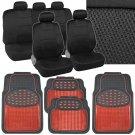 13pc Black Car Seat Cover w/ Rubber Red Metallic Floor Mats - Sport Cloth Mesh