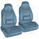 2 pcs High Back Bucket Seat Covers Set Built-In Lumbar Support Cushion Blue