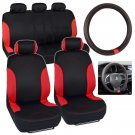 Black Red Stripes Car Seat Cover with Synthetic Leather Steering Wheel Cover