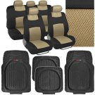 13 Pc Interior Protection - Beige/Black Car Seat Cover and Deep Dish Rubber Mats