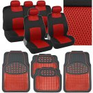 9 Pc Sporty Mesh Red / Black Car Seat Cover & 4 Pc Deep Dish Black Rubber Mats