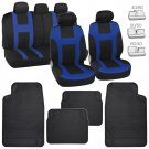 Black /Blue Cloth Car Seat Covers & All Weather Heavy Duty Rubber Floor Mats