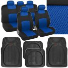 9 Pc Sporty Mesh Blue / Black Car Seat Cover & 4 Pc Deep Dish Black Rubber Mats