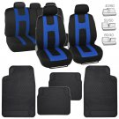 Black/Blue Elite Cloth Car Seat Covers & All Weather Heavy Duty Black Floor Mats