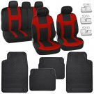 Red on Black Cloth Polyester Car Seat Covers Protector w/ Rubber Floor Mats Auto