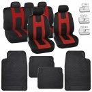 Red Sport Stripes Car Seat Covers w/ Black Heavy Duty Rubber Floor Mats