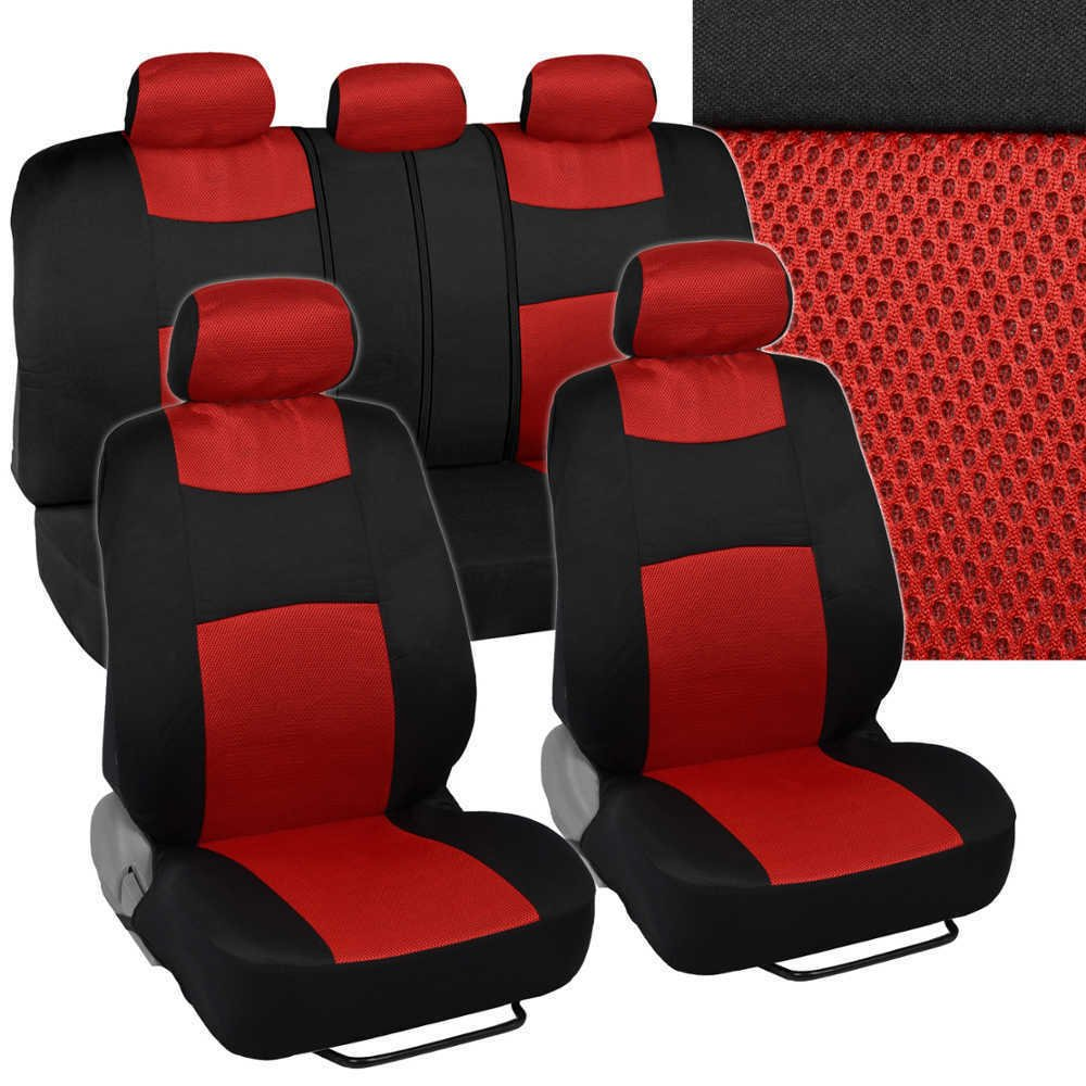 9 pc mesh car seat covers red split option bench. Black Bedroom Furniture Sets. Home Design Ideas