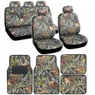 Forest Camouflage Seat Covers - Car Truck Cover Floor Mats 13 pc Set